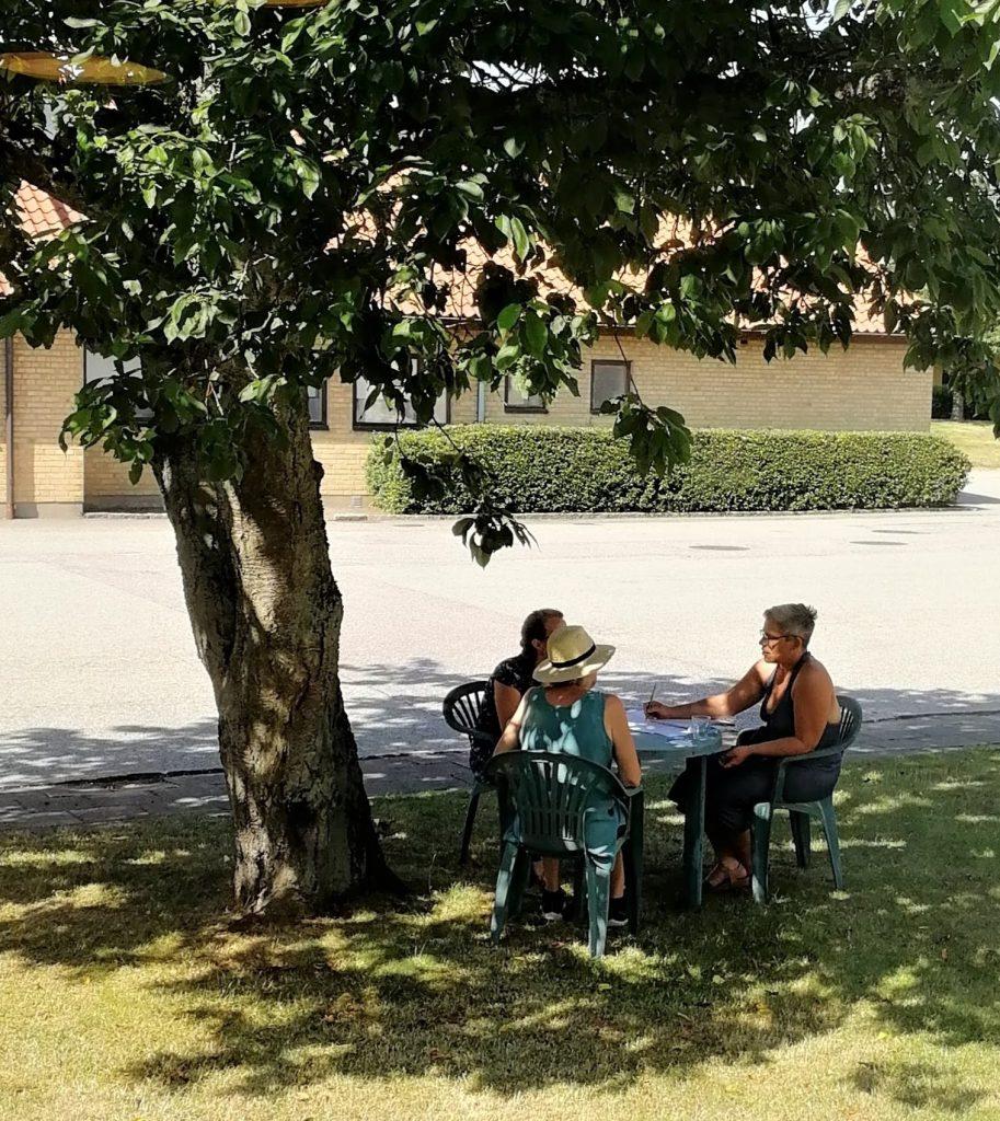 Grupparbete i skuggan av körsbärsträdet